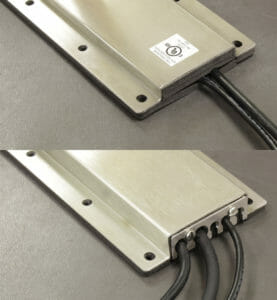 NEMA 2 (top) and NEMA 4/4X (bottom) Cable Exit Cover Plate Options