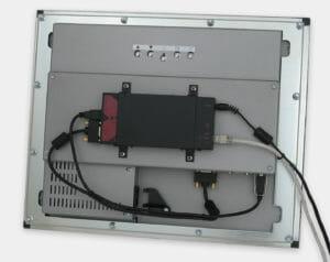 KVM Extender Mounted on Rear of Industrial Panel Mount Monitor VESA Bracket
